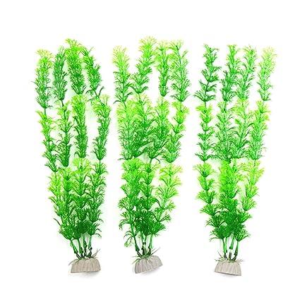 sourcingmap 3Pcs Plástico Verde Peces De Acuario Tanque De Agua Hierba Ornamento Decorativo De La Planta