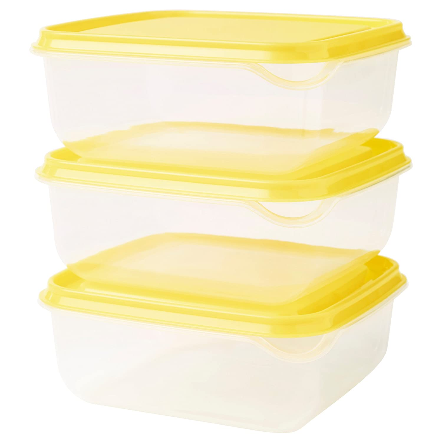 IKEA PRUTA Food Storage Square 14x14x2.25 Container 20 oz, 6 Pack BPA-Free Plastic Clear Container, Yellow lid