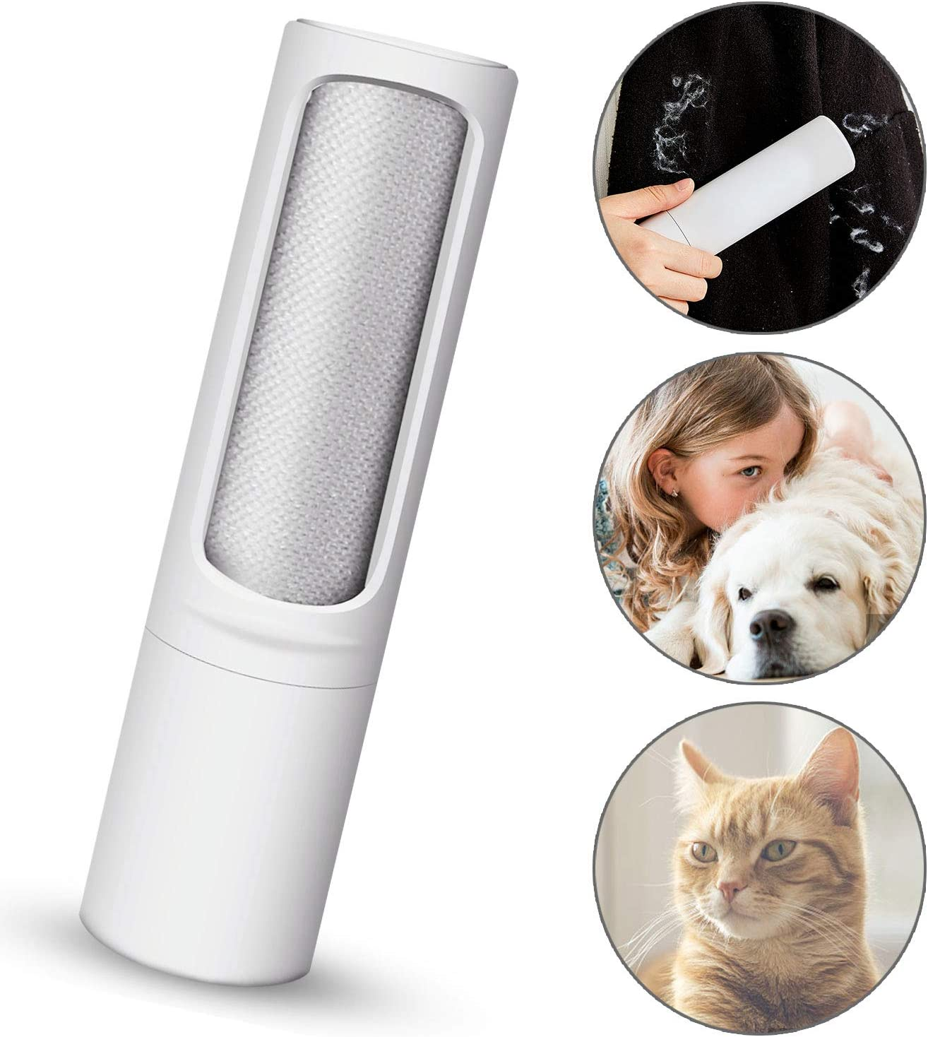 Pet Hair Remover Brush - Reusable Travel lint brush with self cleaning,Lint Roller Brush for Dog & Cat Hair Removal/Carpet/Car Seat/Clothes/Furniture