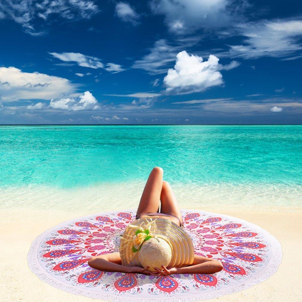 Linked Moda Round Tapestries Beach Towel Scarf Chiffon Wrap Sarong - Thin Mandala Happy Towel Picnic Blanket Throw Rug Fabric Tapestry Boho Gypsy Yoga Mat Cover Picnic Scarf Tablecloth