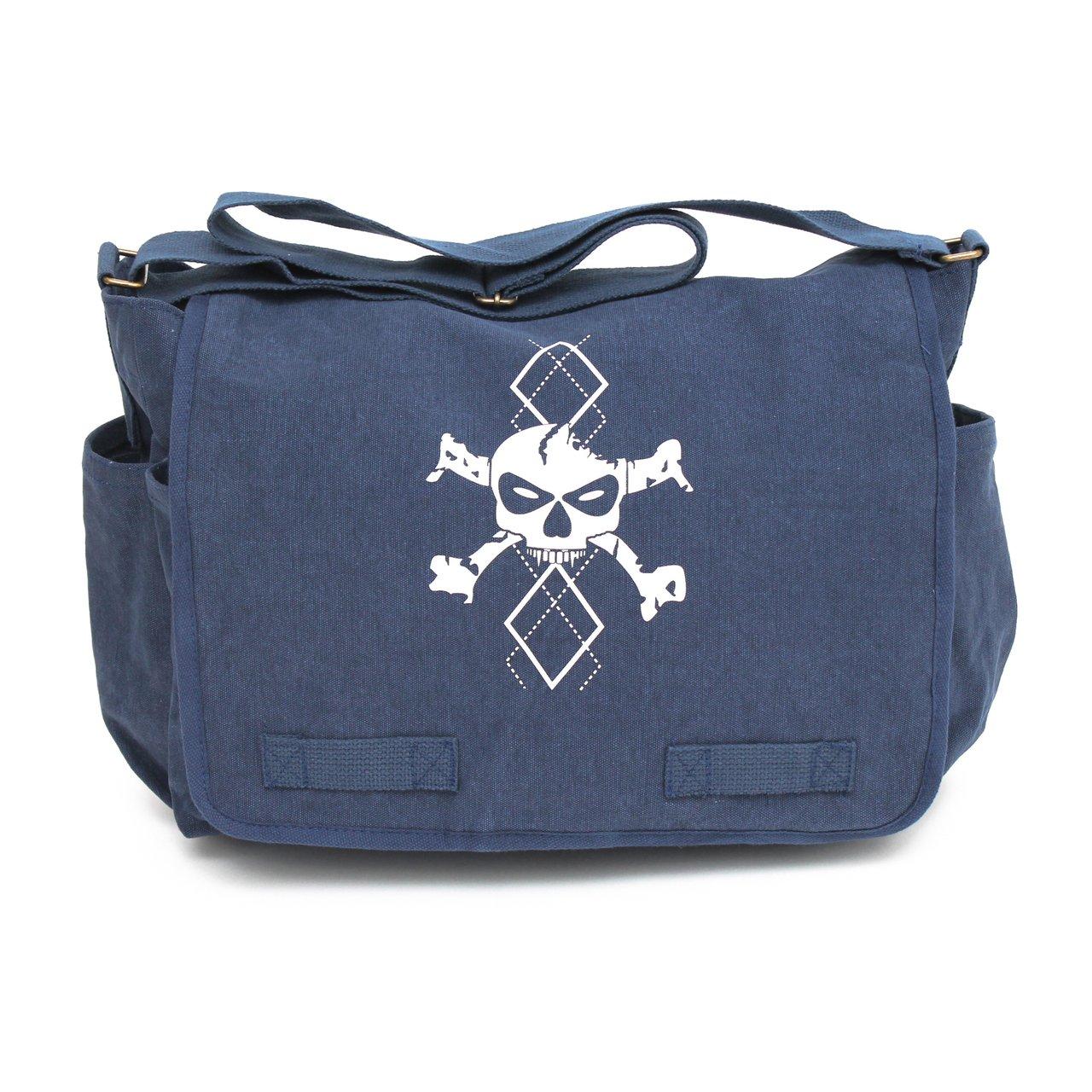 Heavyweight Canvas Messenger Bag Satchel Diaper Bag, Blue with White Argyle Skull