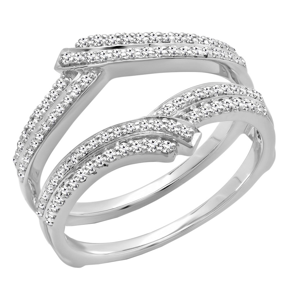 Dazzlingrock Collection 0.32 Carat (ctw) 10K Round Diamond Ladies Wedding Double Guard Ring 1/3 CT, White Gold, Size 6 by Dazzlingrock Collection