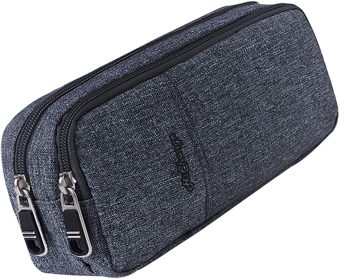 Pencil Case, Large Capacity Pencil Cases Pencil Bag with Two Compartments (Gray)