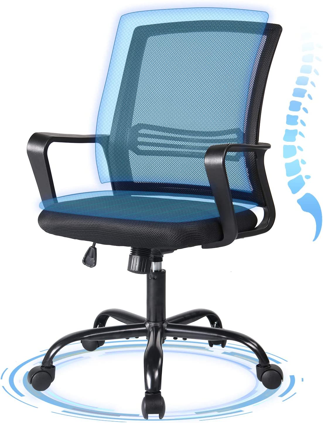 Ergonomic Office Chair Desk Chair Mesh Computer Chair Mid Back Task Chair With Lumbar Support And Armrest Furniture Decor