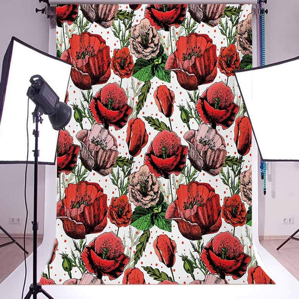 Flower 10x12 FT Backdrop Photographers,Pattern with Colorful Poppy Flowers Polkadot Background Classic Style Background for Baby Shower Bridal Wedding Studio Photography Pictures Red Green Dried Rose