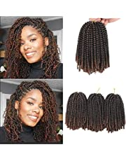 Xtrend 3 Pcs 8 Inch Spring Twist Braiding Hair Ombre Colors Passion Twist Fluffy Twist Hair Ombre Crochet Braids Synthetic Braiding Hair Extensions (#T30)