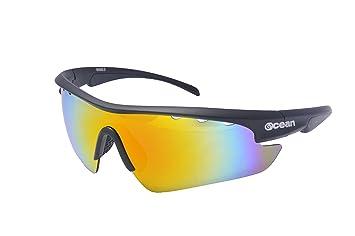 Ocean Sunglasses Ironman - gafas de sol- Montura : Negro Mate - Lentes : Rojo