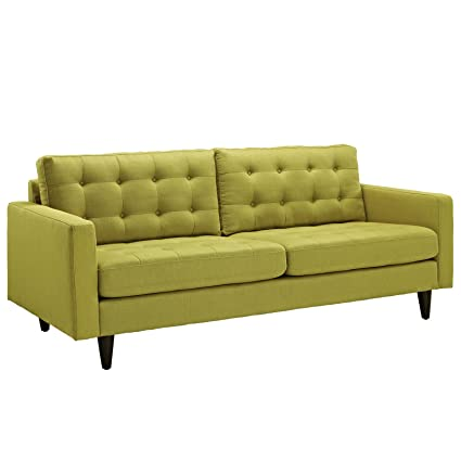 Modway Empress Mid Century Modern Upholstered Fabric Sofa In Wheatgrass
