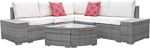 Go Light 6 Piece Outdoor Patio Conversation Set,PE Rattan All Weather Wicker Sofa Set,Outdoor Sectional Furniture Set