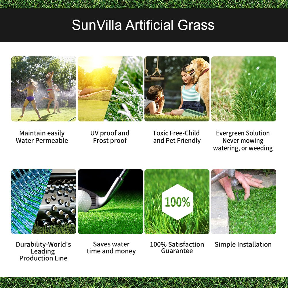 SunVilla SV7'X13' Realistic Indoor/Outdoor Artificial Grass/Turf 7 FT X 13 FT (91 Square FT) by SunVilla (Image #6)