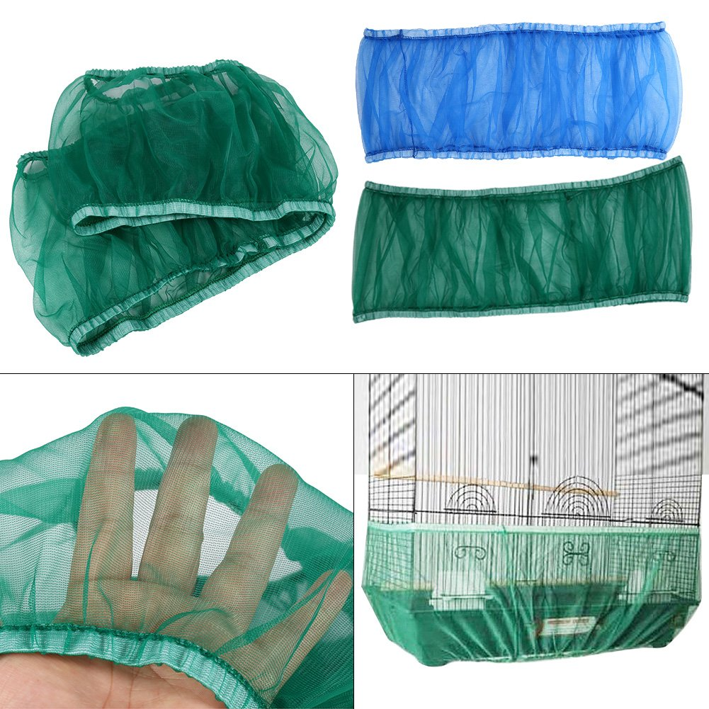 4 Colors Ventilated Nylon Bird Cage Cover Shell Seed Catcher Pet Products Large Size Bird Cage Seed Catcher Seeds Guard Parrot Nylon Mesh Net Cover Stretchy Shell Skirt Traps Cage Basket Soft Airy GOTOTOP