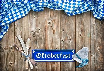 6x4ft Photography Backdrop Oktoberfest Themed Bavarian/Flag/Wooden Board Brown Wooden Wall Background Octoberfest Beerfest Backdrops for Photography Portrait Photo Props Studio Backdrop