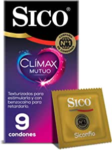 Sico Clímax Mutuo Condones de hule látex natural con benzocaína cartera con 9 piezas