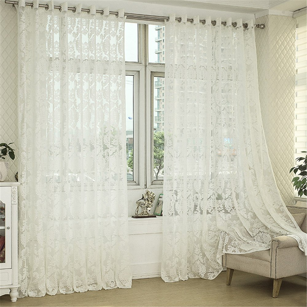 R.LANG Solid Grommet Top Beautiful Design Jacquard sheer Curtain 1 Pair White 46W X 54 L Ltd