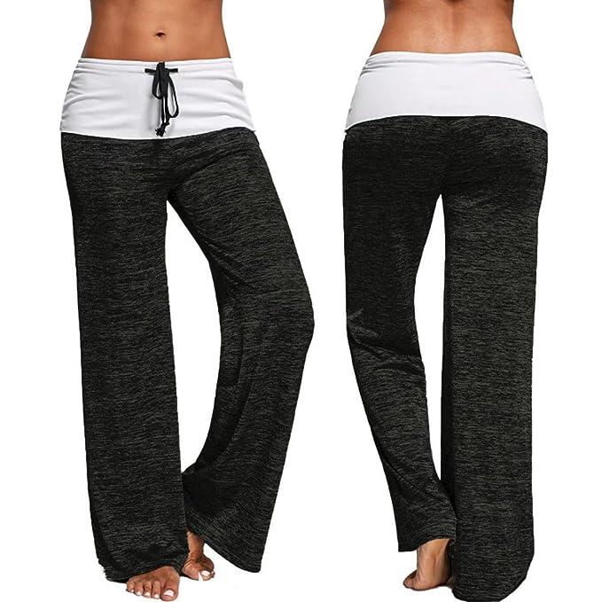 Amazon.com: Mujer Cordón ancho pierna de cintura alta de ...