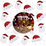 NICEXMAS Lustige Weihnachtsdeko für Gläser / Weihnachtsmannmützen - Tischdekoration aus Karton X 20 und Santa Weihnachtsmann Confetti (24 g)