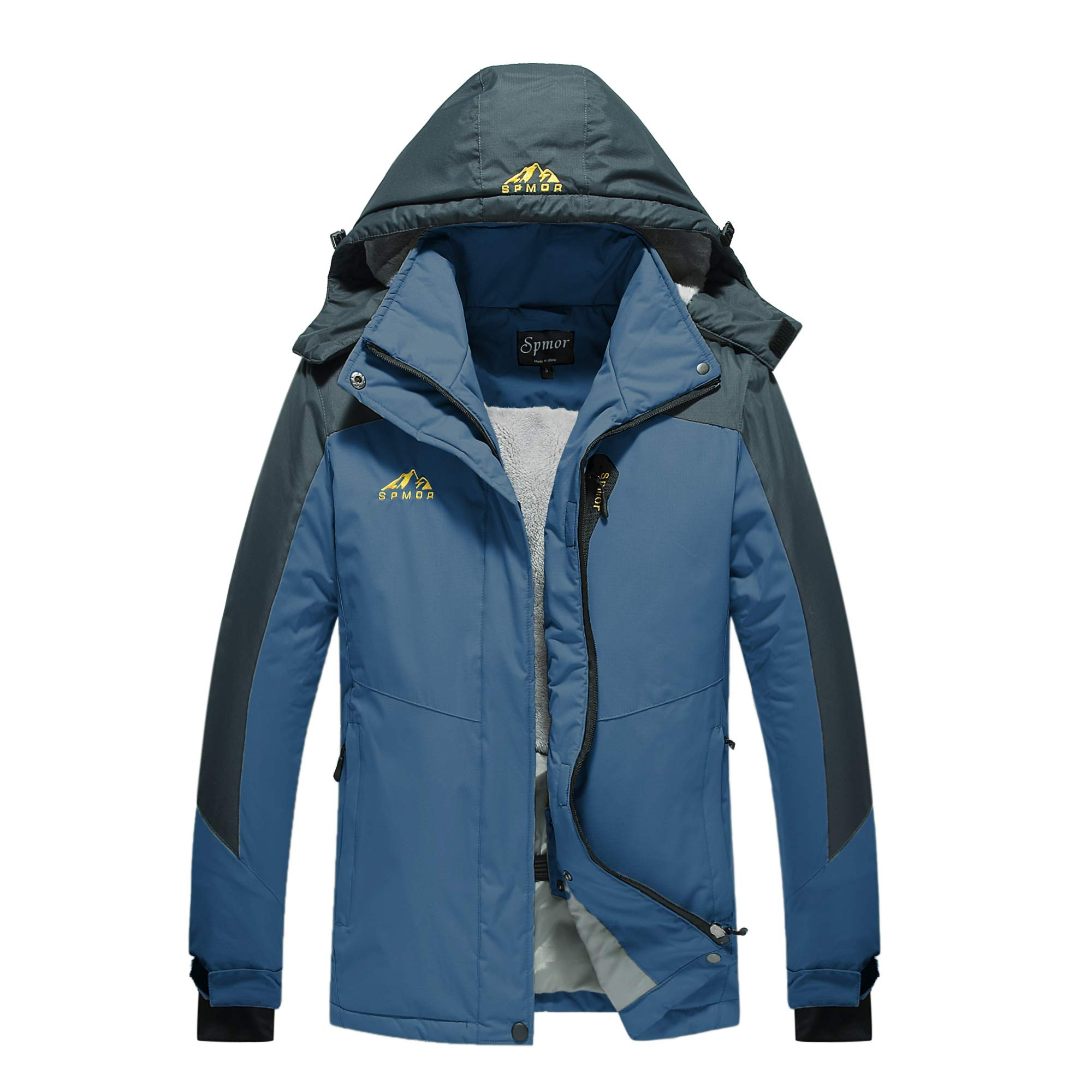 Spmor Women's Waterproof Ski Fleece Jacket Mountain Rain Coat Windproof Skin Hooded Jacket Navy Small by Spmor