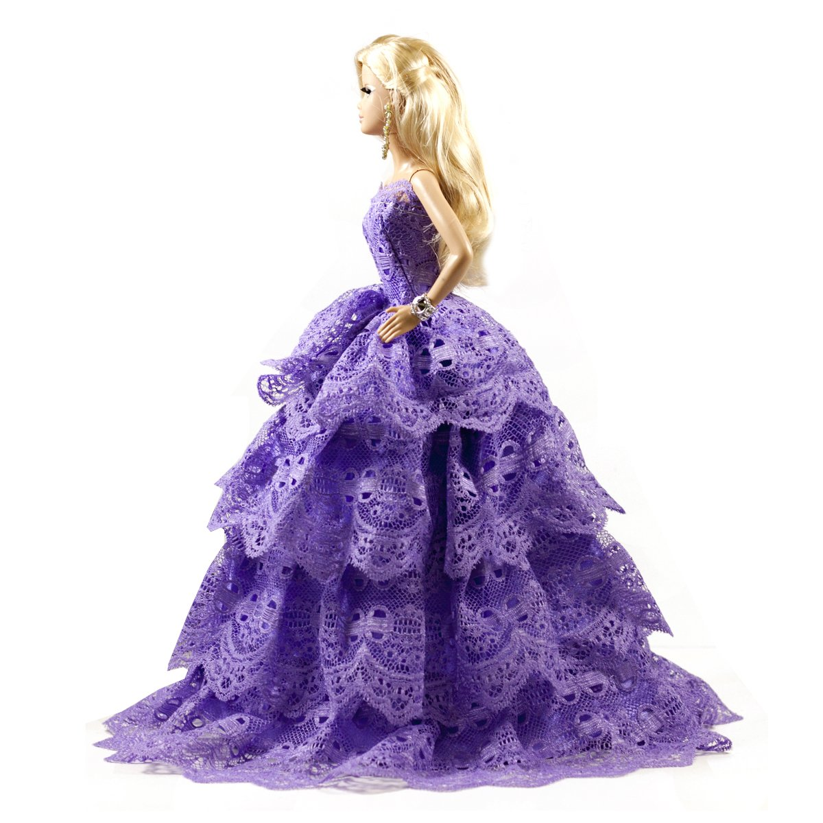 931fd00a8 Amazon.com: Peregrine Purple Layered Ball Gown Purple Lace Wedding Dress  Gown for 11.5 inches Dolls: Toys & Games