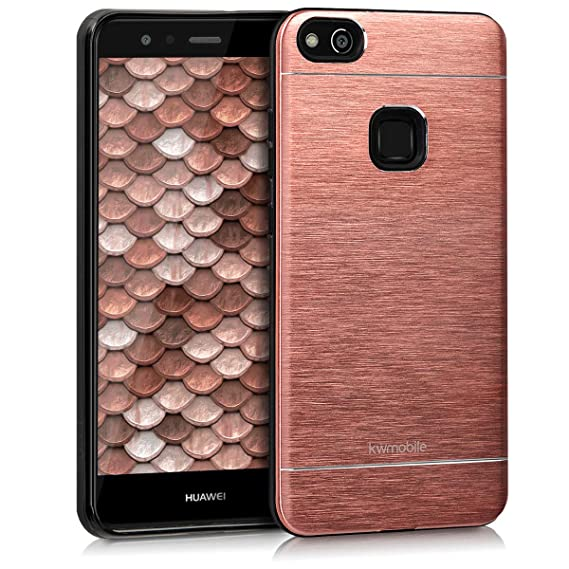 kwmobile Case for Huawei P10 Lite - Durable Shockproof Aluminum Protective Smartphone Back Cover - Rose Gold