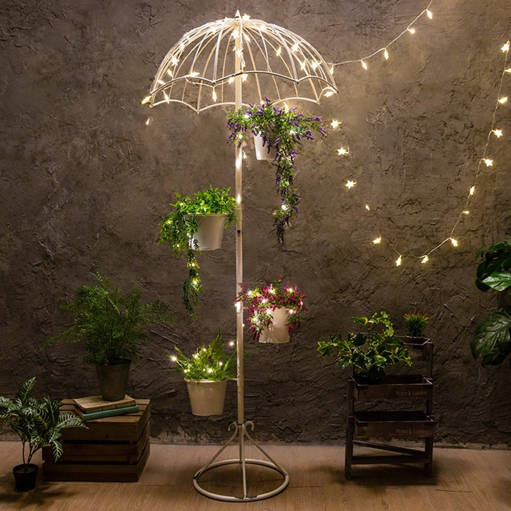 ZGP @Plant stand Flower Stand Wrought Iron Flower Stand Umbrella Shelf Flower Shop Clothing Store Balcony Garden Floor Vintage Iron Flower Rack With Light (Color : A) by ZGP