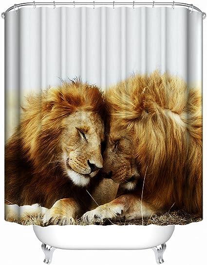 multicolore 89 x 178 cm Boyouth Rideau de douche avec motif lion tigre l/éopard imprim/é num/érique pour salle de bain rideau de bain en polyester imperm/éable avec 6 crochets