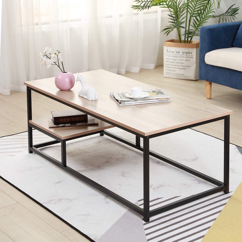 56cm Table Basse de Canap/é Table de Caf/é Meuble TV avec /Étag/ère de Rangement pour Salon DlandHome 120 Grain de Bois Gris