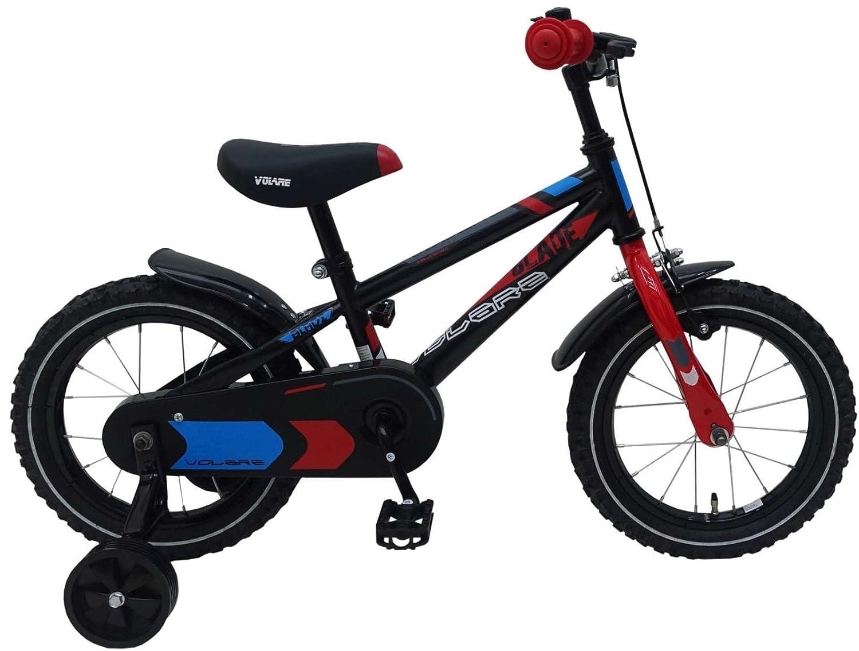 14 Zoll Fahrrad mit Rücktritt und Stützräder Kinderfahrrad Jungen Schwarz81401
