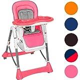 TecTake Confort Chaise Haute de Bébé Pliable - diverses couleurs au choix (Rose)