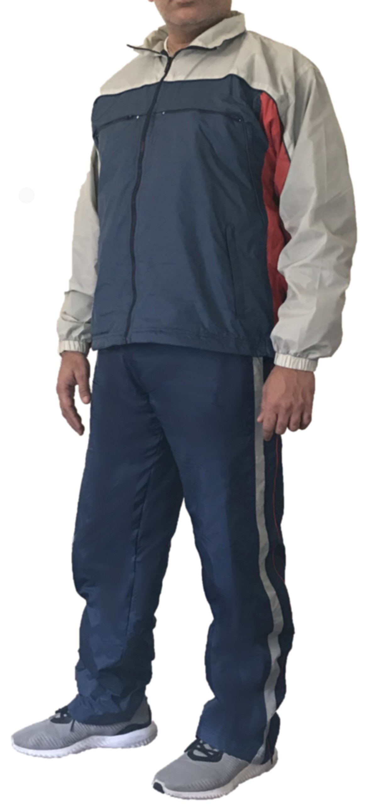 Sportier Classic Collection. 2 Pcs Jogging Track Suit with Pocket, Warm up Suit with Mesh Lining Added for Breathability. (XL)