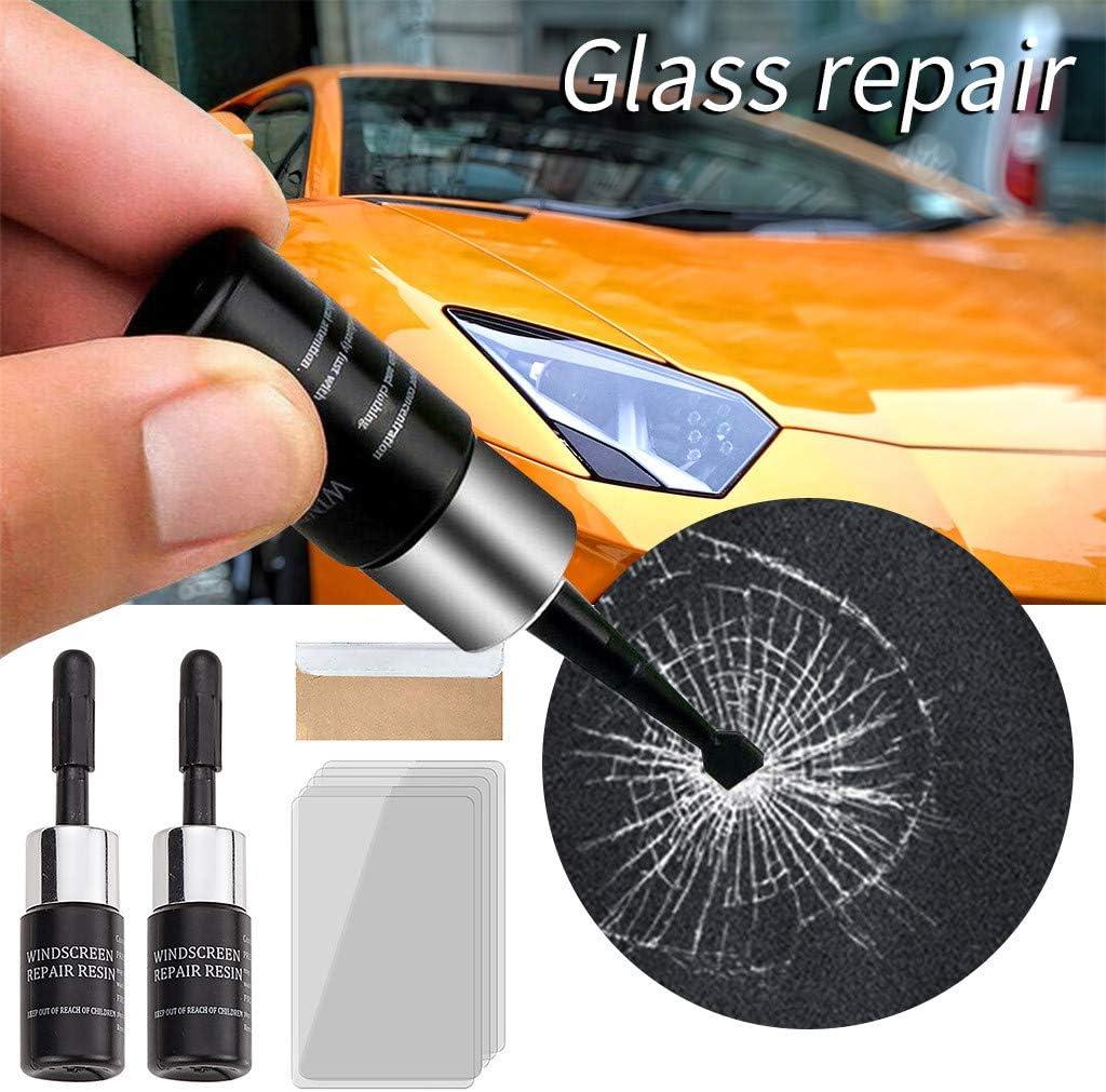 Black Karooch Car Windshield Repair Kit Windshield Chip Repair Kit with Windshield Repair Resin for Fix Auto Glass Windshield Crack Chip Scratch 2 x Repair Resin 5 x Cure Strips 1 x Sleeve Razor