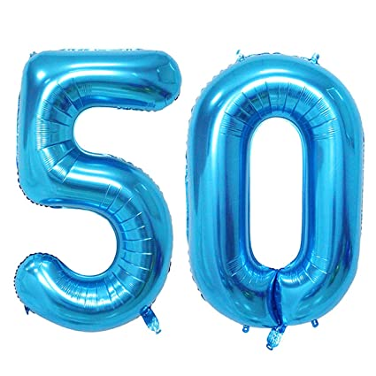 Amazon Number 50 Blue Foil 40inch Jumbo Digital Balloons 50th