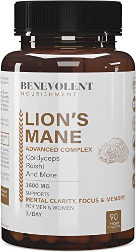 Premium Organic Lions Mane Mushroom Capsules – Lion s Mane, Cordyceps, Reishi Powder – Enhanced Absorption Nootropic Brain Supplement, Immune Booster, Stress Relief, Focus Memory – 90 Veggie Caps