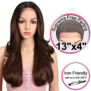 "JOEDIR 22"" Big Curly Wavy Supreme Free Parting Lace Frontal Wigs With Baby Hair High"