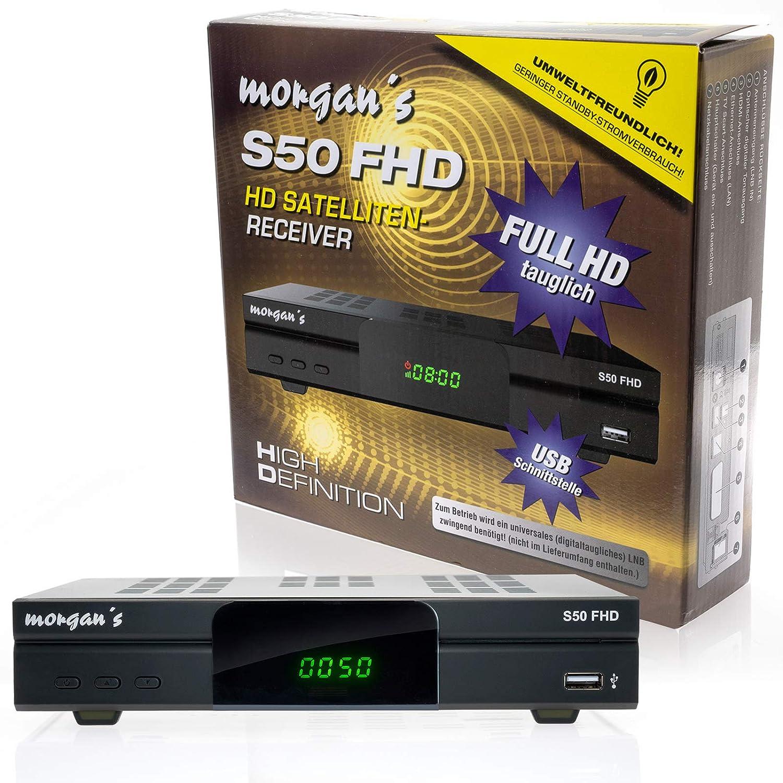 mit Aufnahme und Timeshift schwarz HDTV, DVB-S2, HDMI, SCART, USB 2.0, Full HD 1080p, LAN Anschluss vorprogrammiert f/ür Astra Morgan/'s S50 FHD digitaler Satelliten Sat-Receiver