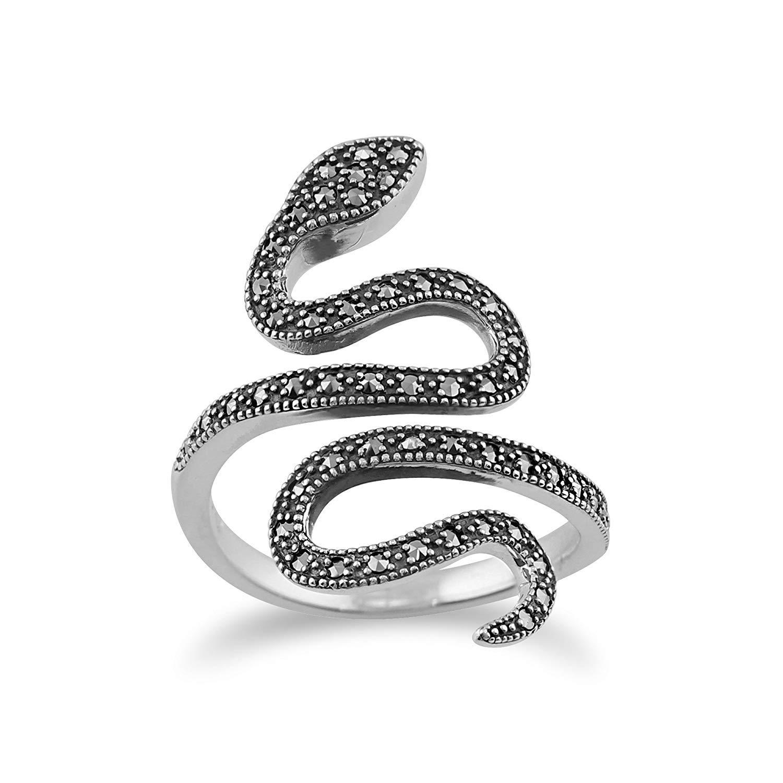 Argent Massif 925 0,46 CT Marcassite Art Nouveau Serpent Bague Gemondo Bague Marcassite