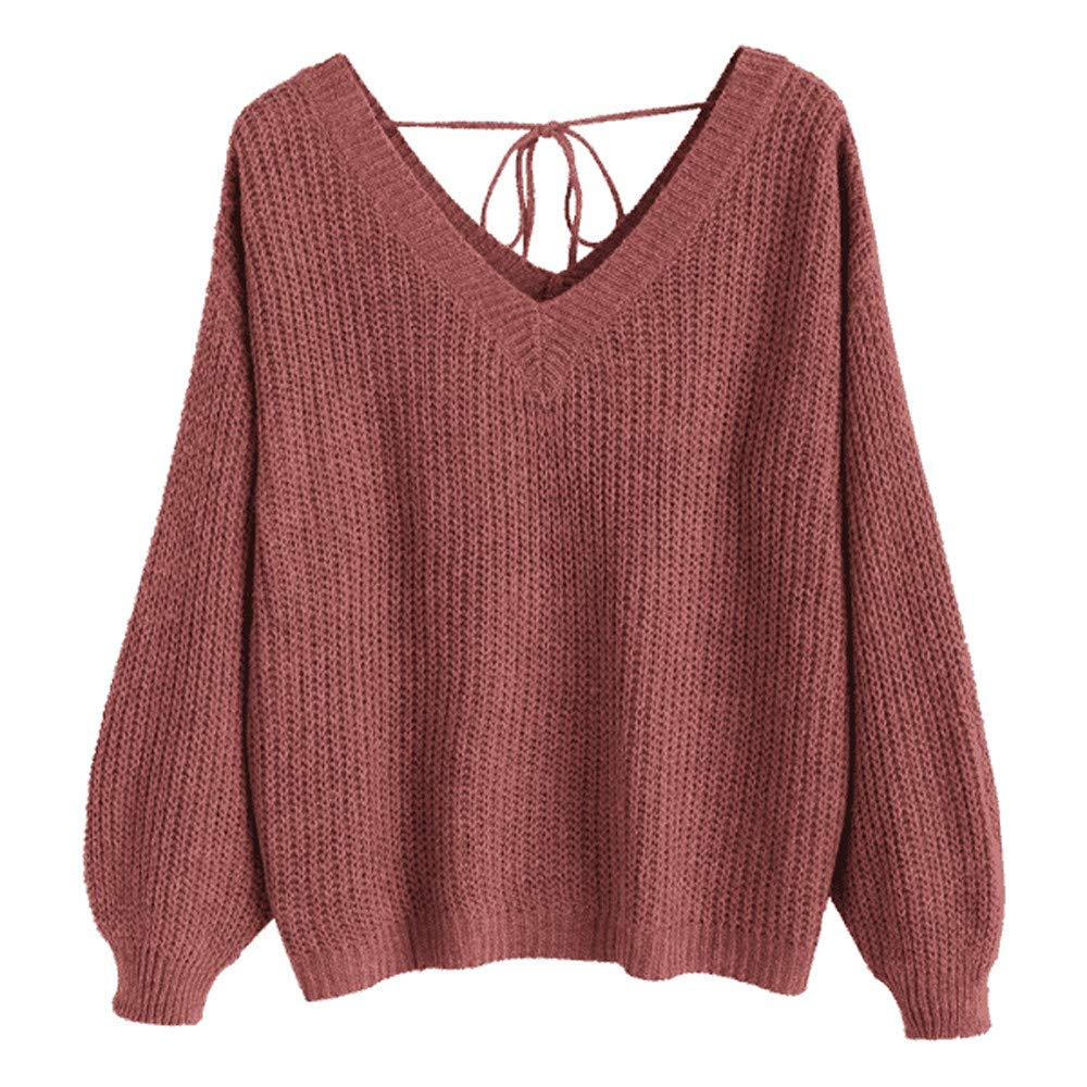 AKwell SWEATER レディース B07KCCMDYS レッド Large