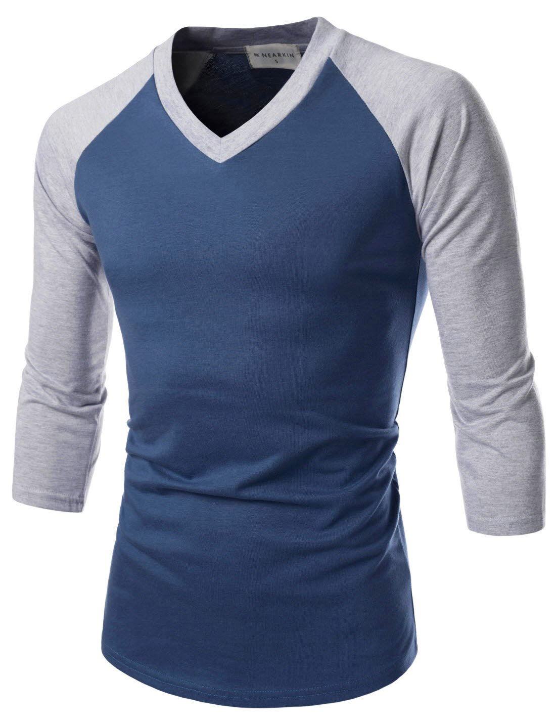 NEARKIN (NKNKR7T621) Unisex 3/4 Sleeve Raglan Design V-Neck Fitted T-shirts BLUEGRAY US S(Tag size M)