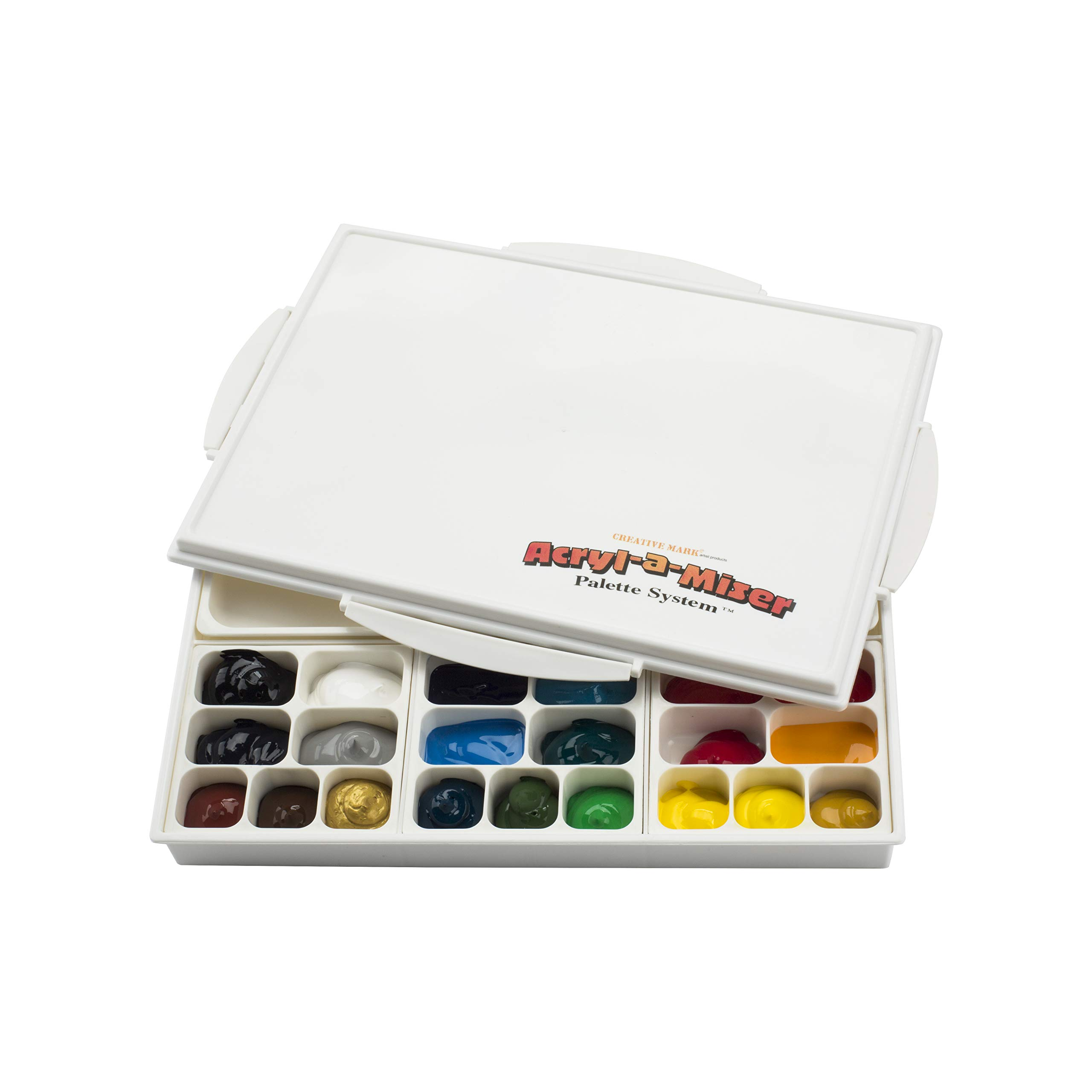 Acryl-A-Miser Artist Airtight Acrylic Palette for Saving Paint - Leak Proof, Multi Purpose, 21 Compartments by Creative Mark
