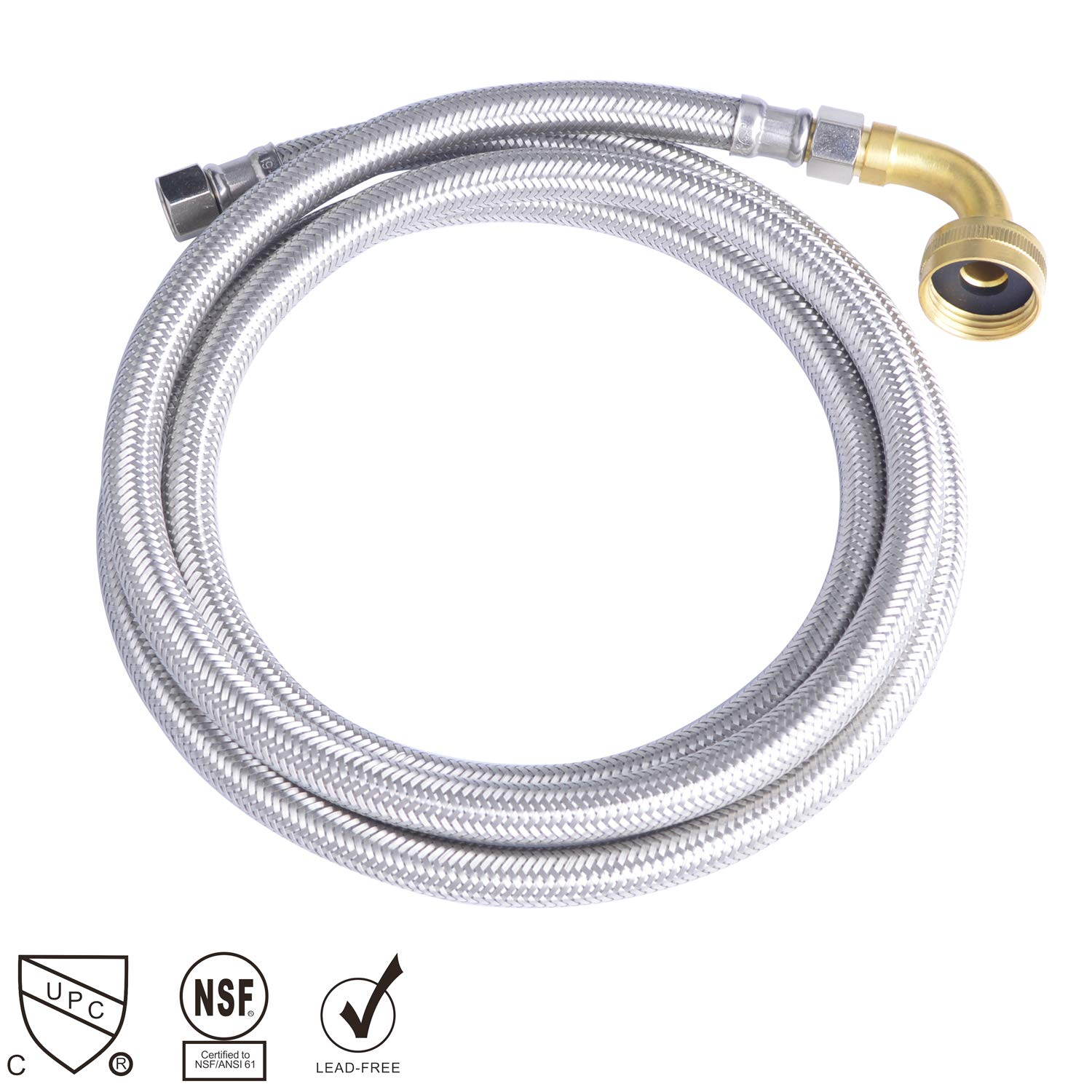 "Hydro Master 0152104 72 inches Braided Stainless Steel Dishwasher Connector with Elbow, 3/8"" Comp x 3/8"" Comp, Lead Free"