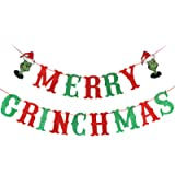 Red&Green Glittery Merry Grinchmas Banner for Grinch Christmas Decorations, Xmas Mantel Fireplace Home Indoor Outdoor Grinch