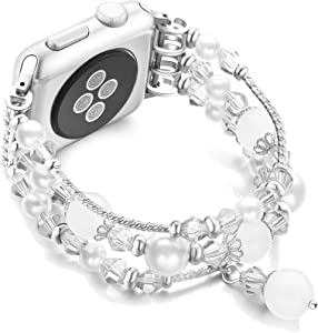JuQBanke Compatible for Apple Watch Band 38mm 40mm, Jewelry Fashion Stretch Crystal Pearl Bracelet Replacement Womens Strap, Compatible for iWatch Series 5/4/3/2/1(Silver White, M/L)