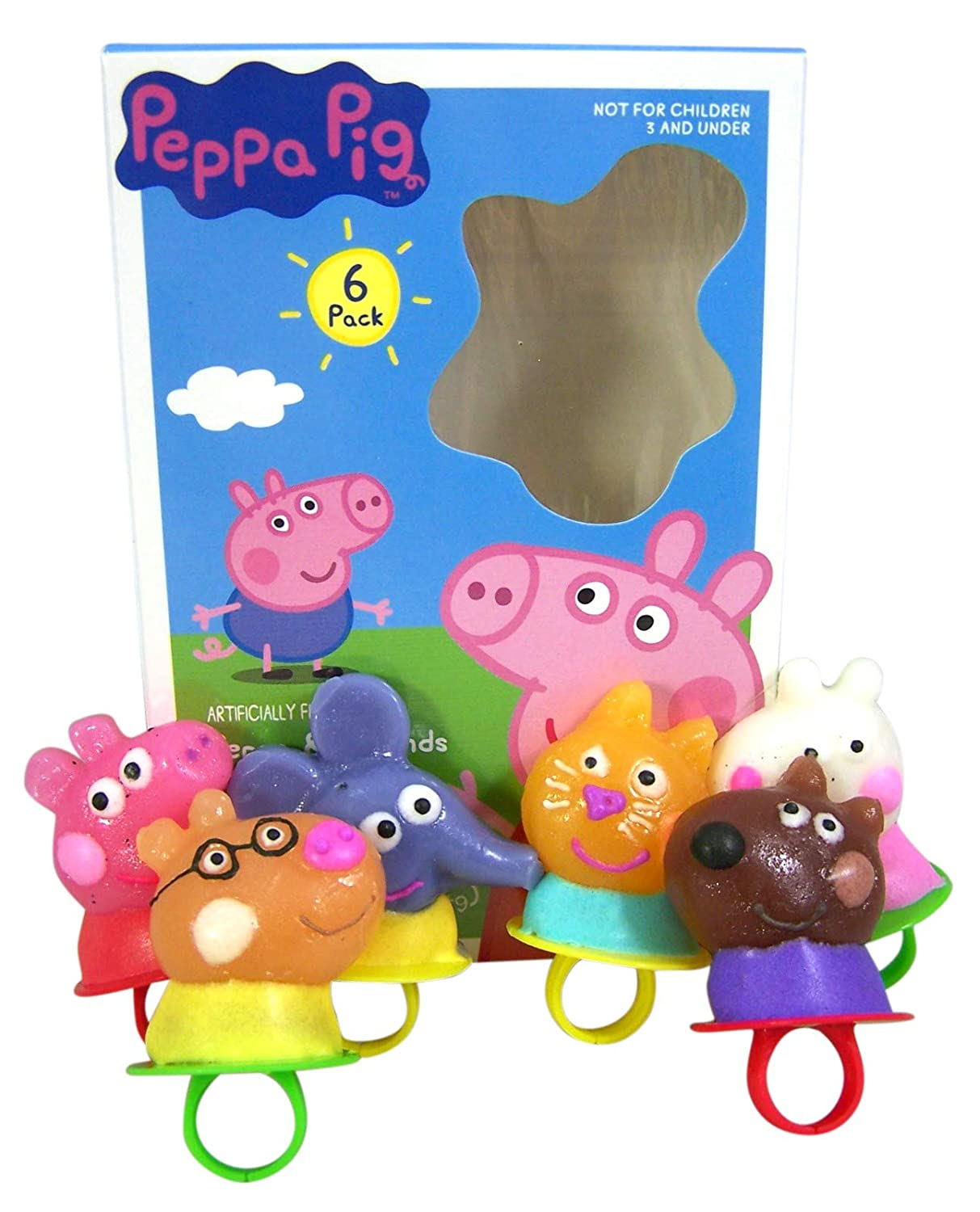 Peppa Pig and Friends Hard Candy Lollipop Anillos, 3 onzas ...
