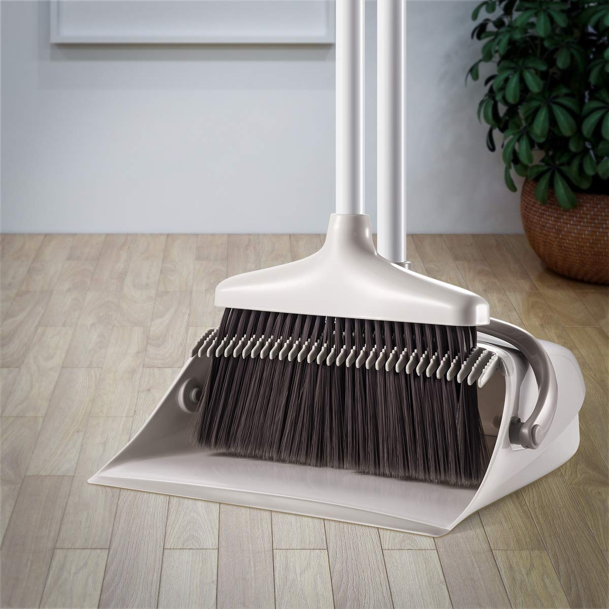 Broom and Dustpan Set, CQT Dust Pan and Broom with Long Handle for Home Kitchen Industry Lobby Floor Sweeping Upright Stand Up Dustpan Cleans Broom Combo by CQT (Image #4)