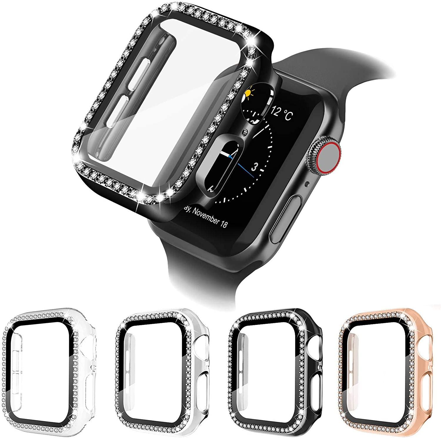 4 Pack Apple Watch Case with HD Tempered Glass Screen Protector for Apple Watch 38mm Series 3/2/1, Full Cover Bling Diamond Crystal Rhinestone Protective Case Ultra-Thin Bumper for Women Girls iWatch