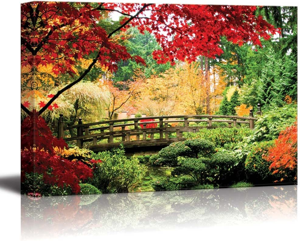 wall26 - Canvas Prints Wall Art - A Bridge in an Asian Garden During Fall Season. | Modern Wall Decor/Home Decoration Stretched Gallery Canvas Wrap Giclee Print. Ready to Hang - 24