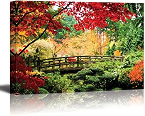 "wall26 - Canvas Prints Wall Art - A Bridge in an Asian Garden During Fall Season. | Modern Wall Decor/Home Decoration Stretched Gallery Canvas Wrap Giclee Print. Ready to Hang -32"" x 48"""