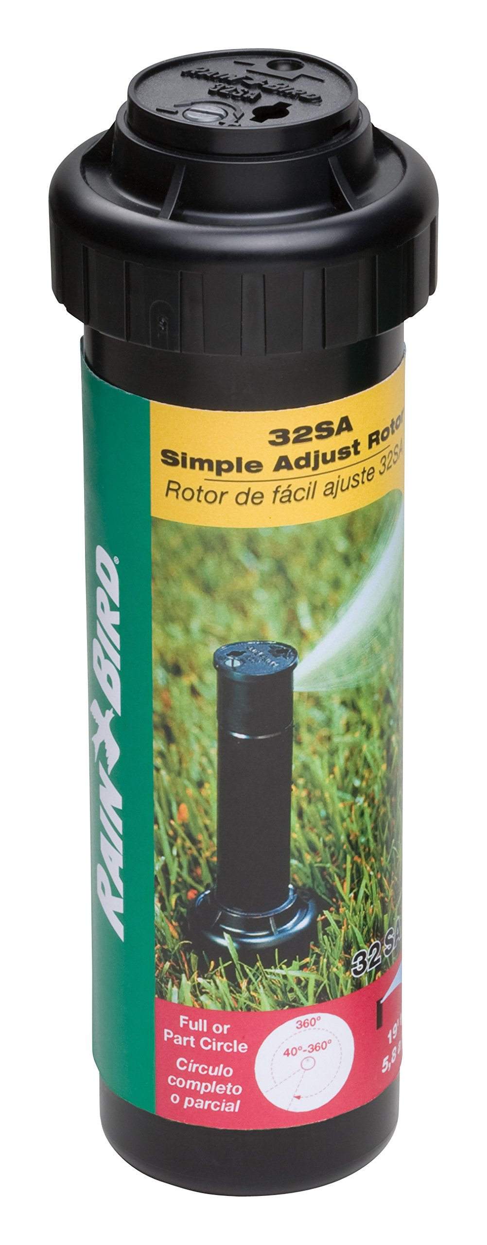 Rain Bird 32SA Simple Adjust Gear Drive Rotor, 40° - 360° Pattern, 19' - 32' Spray Distance