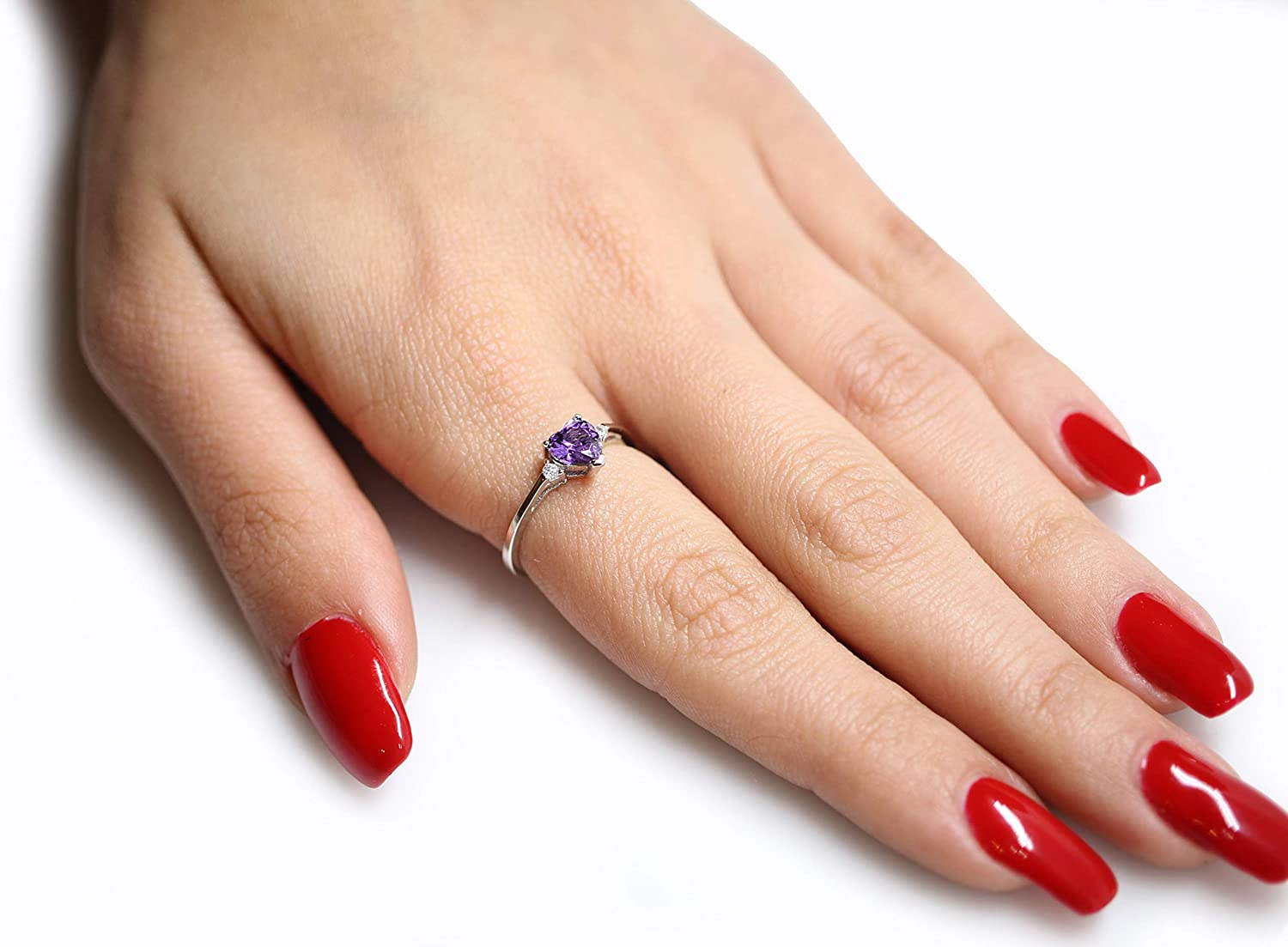Color Options, Size 3-15 CloseoutWarehouse Cubic Zirconia Heart Promise Ring Sterling Silver