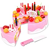 Toyshine 37 Pcs DIY Fruit Birthday Cake Pretend Play Kitchen Toy, Assorted Color