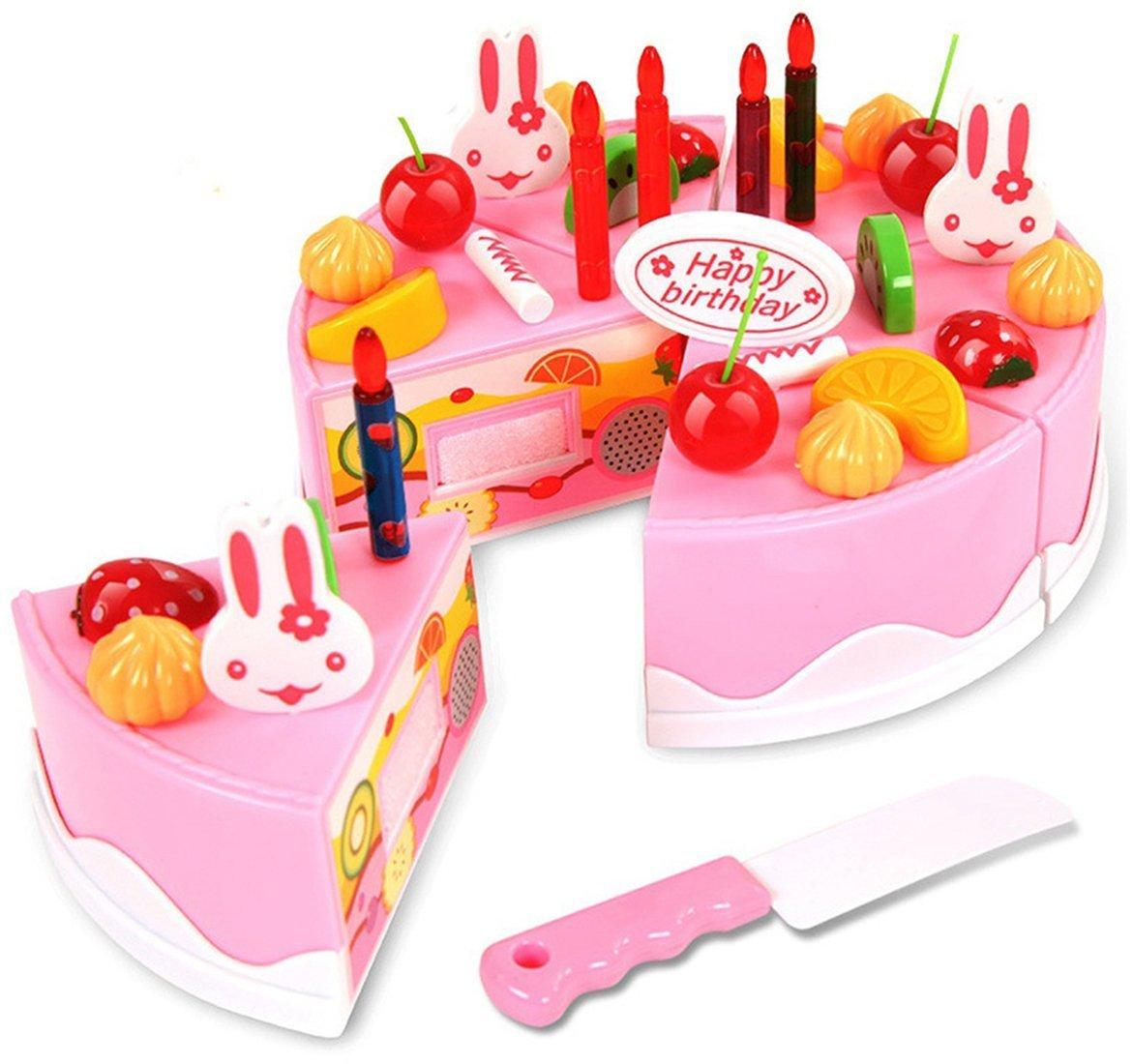 Toyshine 37 Pcs DIY Fruit Birthday Cake Pretend Play Kitchen Toy, Assorted Color product image